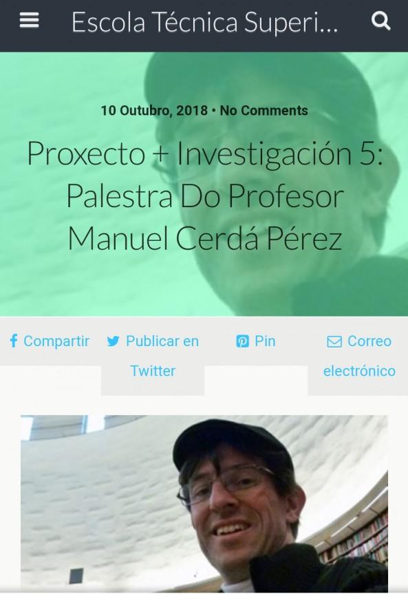 Conferencia en el Congreso «Os espazos intermedios», A Coruña.